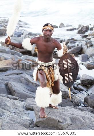 african zulu man - stock photo