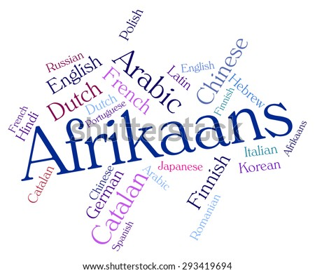 Afrikaans Language Representing Words Word Lingo Stock