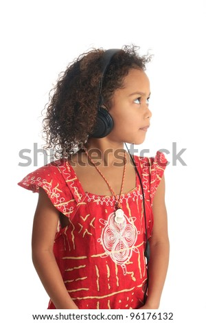 afro american black asian beautiful girl with curly hair listening to music isolated girl metisse asiatique - stock photo