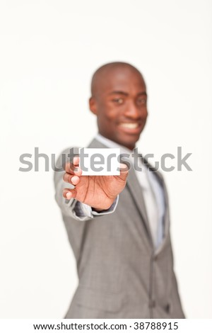 Afro-American businessman holding a white business card - stock photo