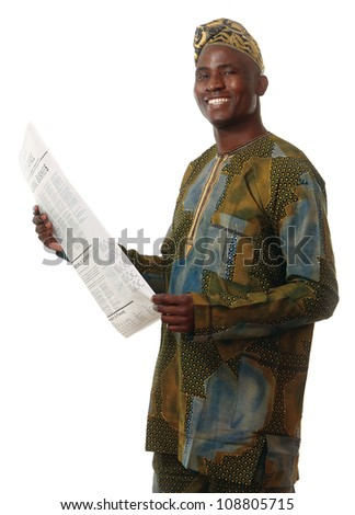 Afro-American businessman reading a newspaper - stock photo