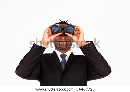 Afro-american businessman with binoculars