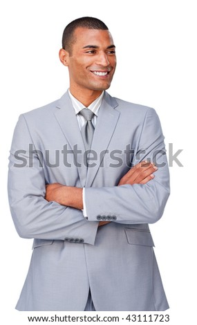 Afro-american businessman with folded arms isolated on a white background