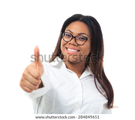 Afro american businesswoman in glasses showing thumb up isolated on a white background. Looking at camera - stock photo