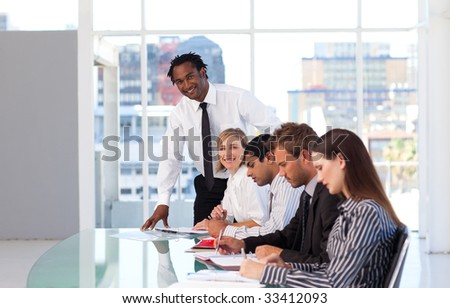 Afro-American leadership working with his team in office