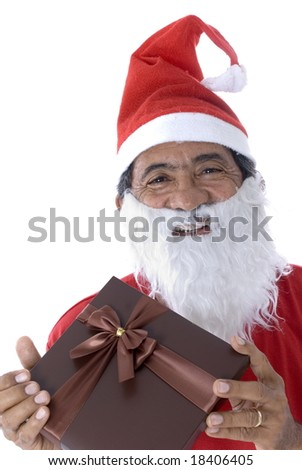 Afro-American Santa Claus Holding a gift on white . - stock photo