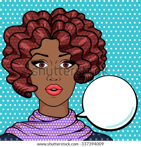 Afro american woman closeup with think bubble for your text, pop art comic style illustration. Stylish surprised afro girl with brown afro hair thinking. - stock photo