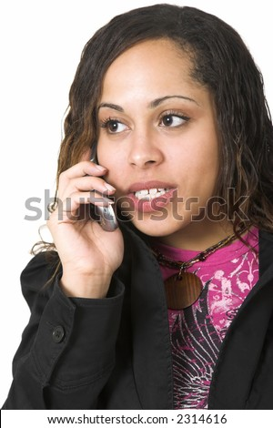 Afro-American woman talking on a cell phone