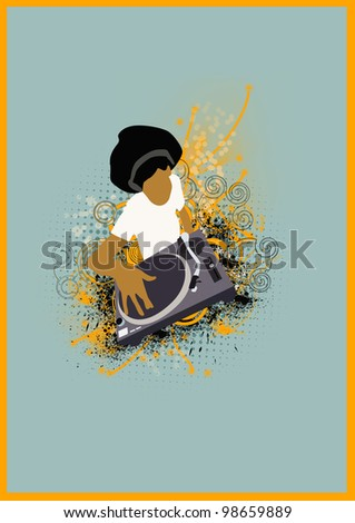 Afro DJ  background with space (poster, web, leaflet, magazine) - stock photo