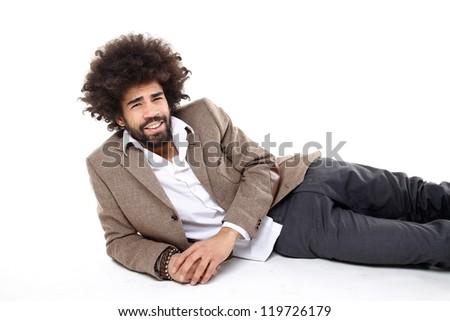Afro man on the ground - stock photo