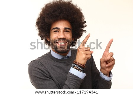 Afro man with funny faces - stock photo