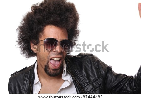 afro man with sunglasses