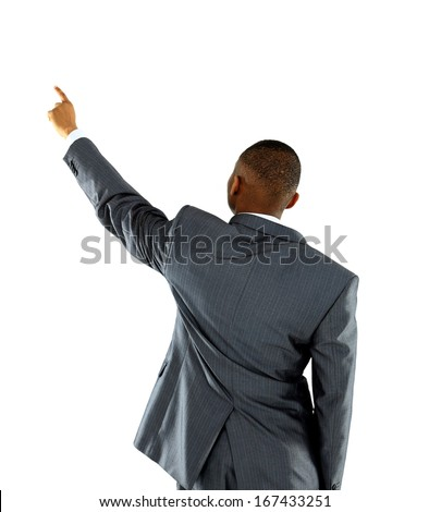 Afroammerican businessman points finger up. Isolated on white background - stock photo