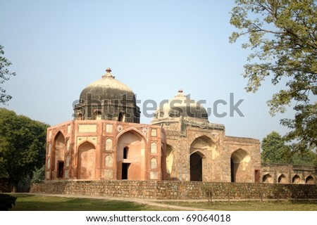 Afsarwala Tomb and Mosque at Humayun's Tomb complex in New Delhi. Built during the Mughal rule in the sixteenth century. - stock photo
