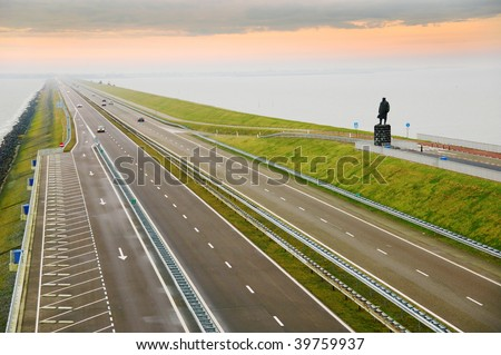 Afsluitdijk a great dam of Holland.