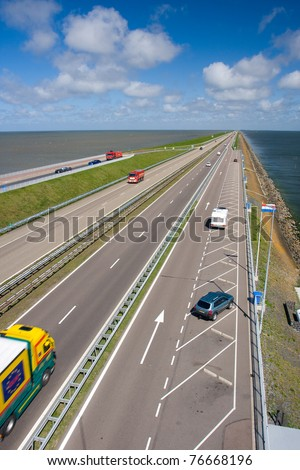 Afsluitdijk a great dam of Holland. - stock photo