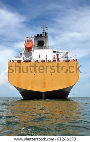 aft of chemical tanker - stock photo