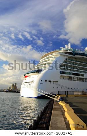 Aft or rear portion of a docked Hawaiian cruise ship - stock photo