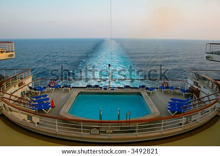 aft view of a cruise liner at sea - stock photo