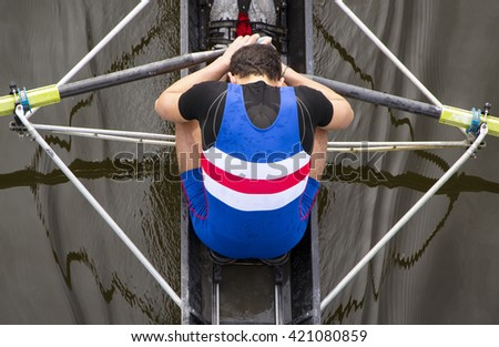 after a rowing race - stock photo