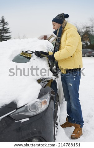 After big blizzard, car needs to clean from snow  - stock photo