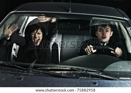 After breaking a couple of rides in the car - stock photo