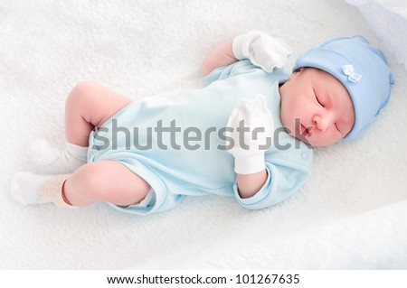 After childbirth, newborn baby in hospital. sleep - stock photo