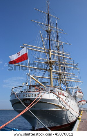 After deck of Polish sailing boat Dar Pomorza - stock photo