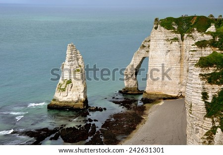 After Rain. Cliffs and Beaches of Etretat, Normandy. France. - stock photo