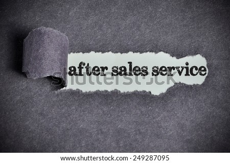 after sales service word under torn black sugar paper  - stock photo