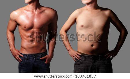 After Sexy muscular young man and before fat man body. Isolated on gray background. asian - stock photo