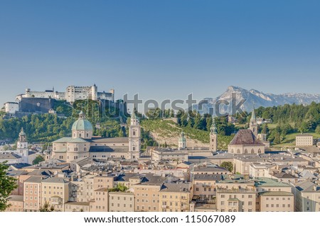 After sunrise Salzburg general view as seen from Capuchin Monastery viewpoint(Kapuzinerkloster), Austria - stock photo