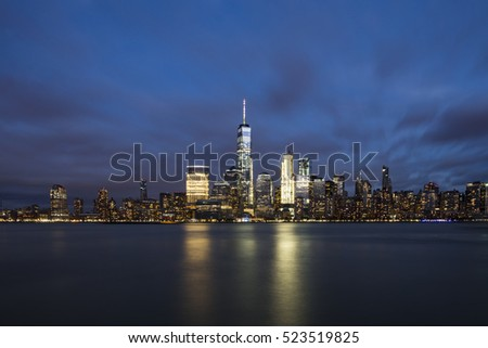 After sunset view at New York City, Manhattan