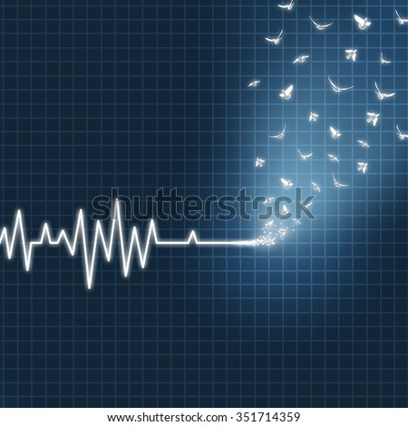 Afterlife concept as an ecg or ekg medical heart monitor lifeline  showing a flatline transforming into white doves flying upward towards heaven as faith metaphor for believing in life after death. - stock photo