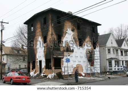 Aftermath of the Norman St. Fire (Bridgeport, CT) - stock photo