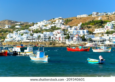 Afternoon in Mykonos old port, Mykonos island, Cyclades archipelago, Greece  - stock photo