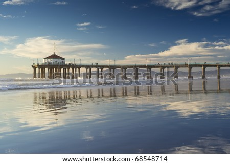 Afternoon Reflections Negative Low Tide Manhattan Beach Pier - stock photo