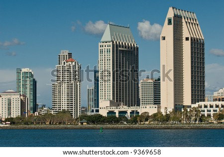 afternoon shot of the downtown San Diego skyline fro the waters of the bay. - stock photo