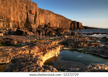 Afternoon sun at atlantic ocean - Ireland - stock photo