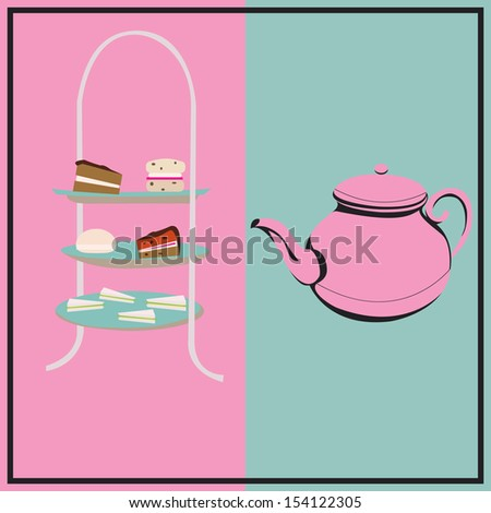 Afternoon Tea, retro background with a cake-stand and a teapot for a tea-party - stock photo