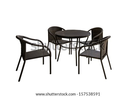 afternoon tea table set isolated on white background