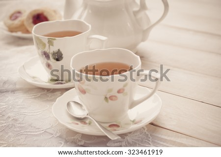 Afternoon tea with Meringue - stock photo