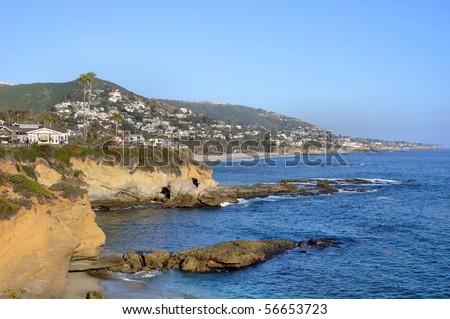 "Afternoon View, Laguna Beach, California, USA (33min 30' 50.5""N, 117min 45' 29.83""W) - stock photo"