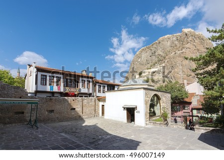 Afyon, Turkey - October 08, 2016 : Afyonkarahisar Mevlevi Mosque garden view. Afyon is located center of Anatolia.