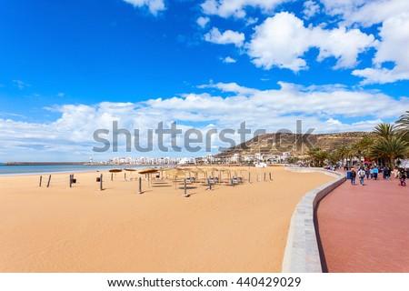 Agadir main beach in Agadir city, Morocco. Agadir is a major city in Morocco located on the shore of the Atlantic Ocean. - stock photo