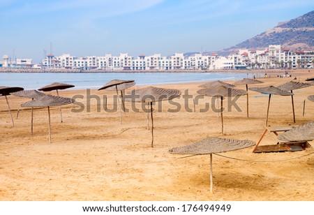 Agadir sand beach, Morocco. - stock photo