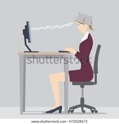Against Mind Control Concept, Woman sitting at desk wearing colander to protect her from mind control, 3D illustration