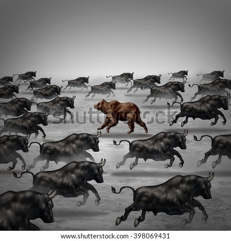 Against the current business concept as a different way to invest or going the opposite direction as a bear in a bull market metaphor for individual financial thinking and a contrary forecast. - stock photo