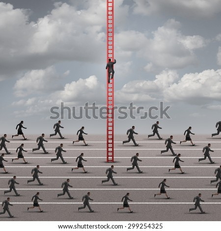 Against the current business concept as a metaphor for being different and innovative solutions to a competition as a group of runners in one direction and one business person going up a ladder. - stock photo