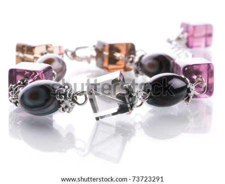 Agate bracelet with crystals in silver - stock photo